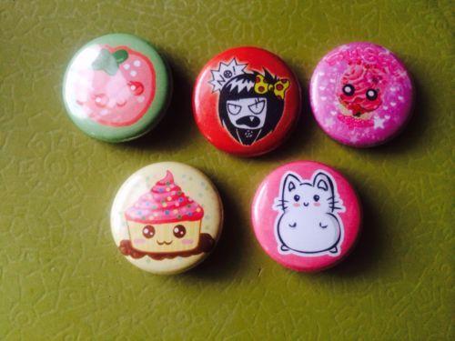 5-Cute-Strawberry-Cupcake-Girl-Pink-Fairy-Kei-Kitsch-Pins-Badges-Brooch-Buttons