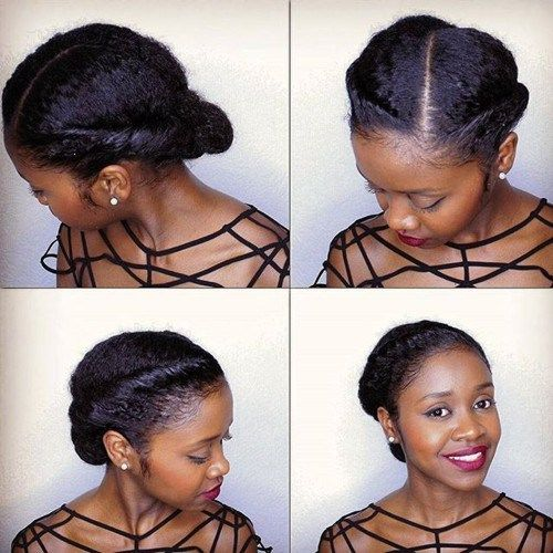 simple elegant updo for natural hair