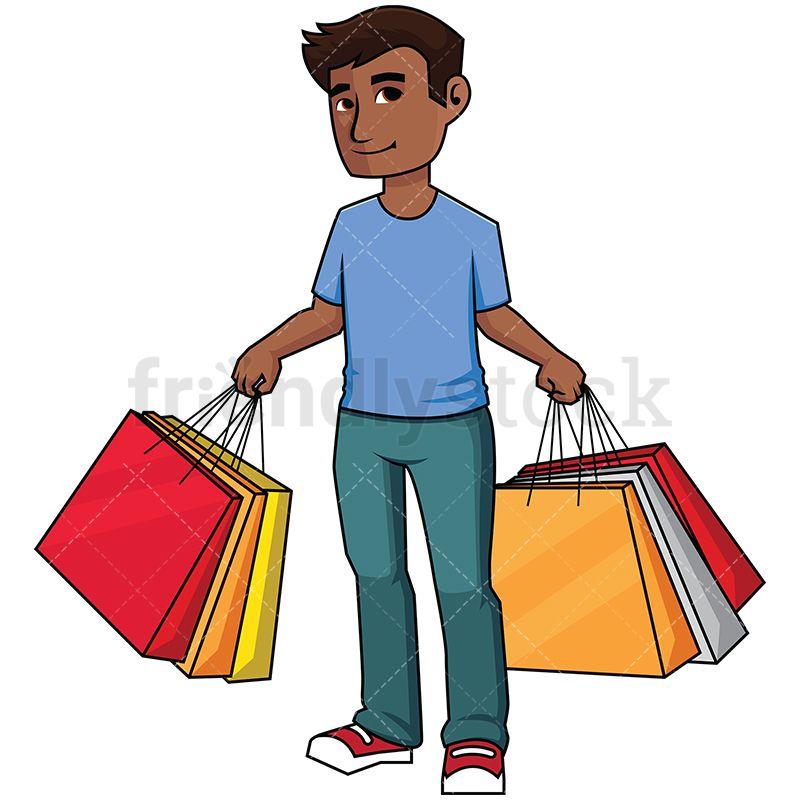 black man holding shopping bags shopping clipart