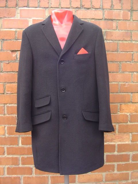a2f98a834fd9f Vintage Black Crombie Overcoat Wool Cashmere size M Ska Mod Skinhead  Immaculate