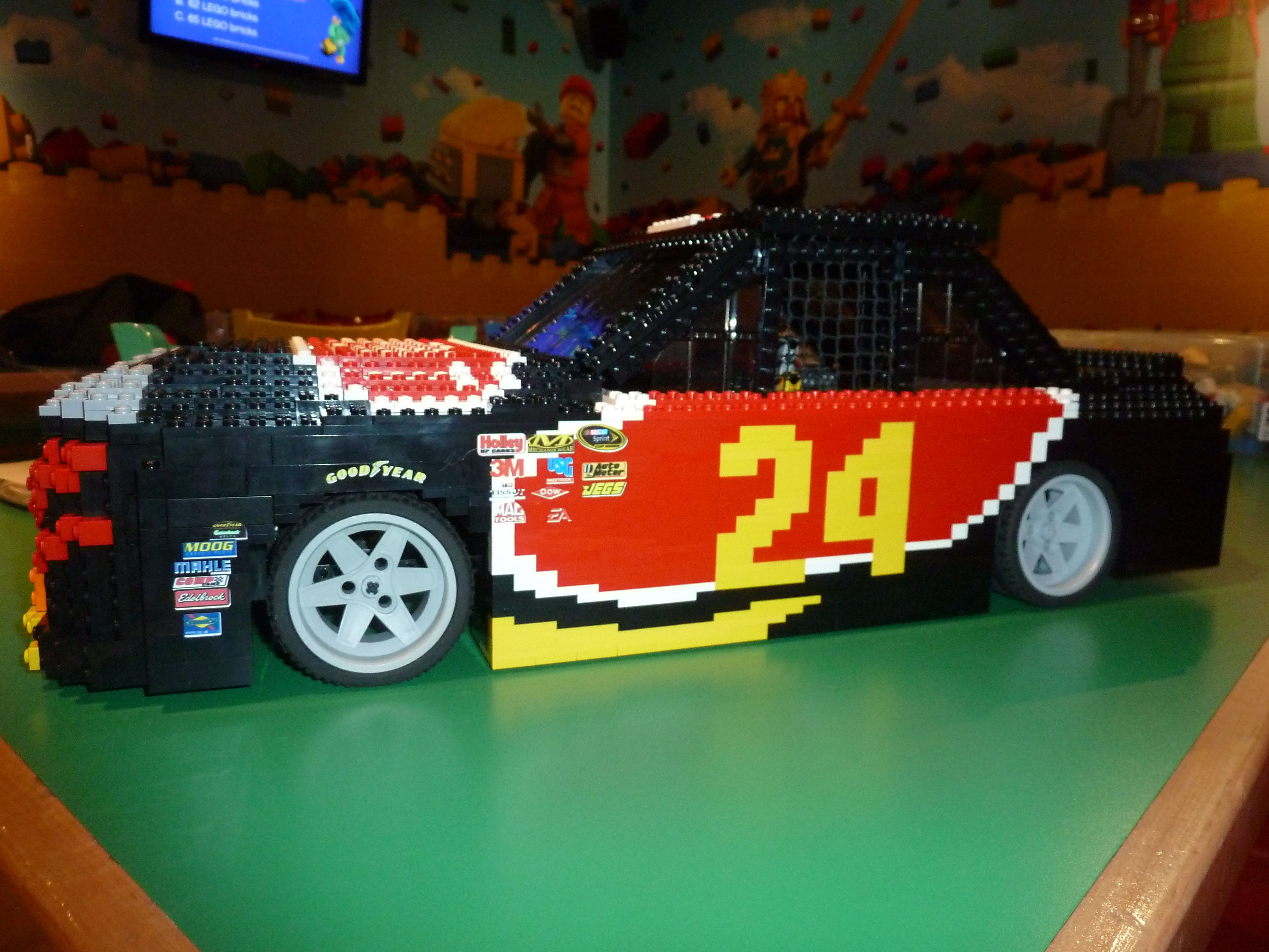 Fastsigns of north dallas created tiny sponsor decals for the side of a jeff gordon legoland