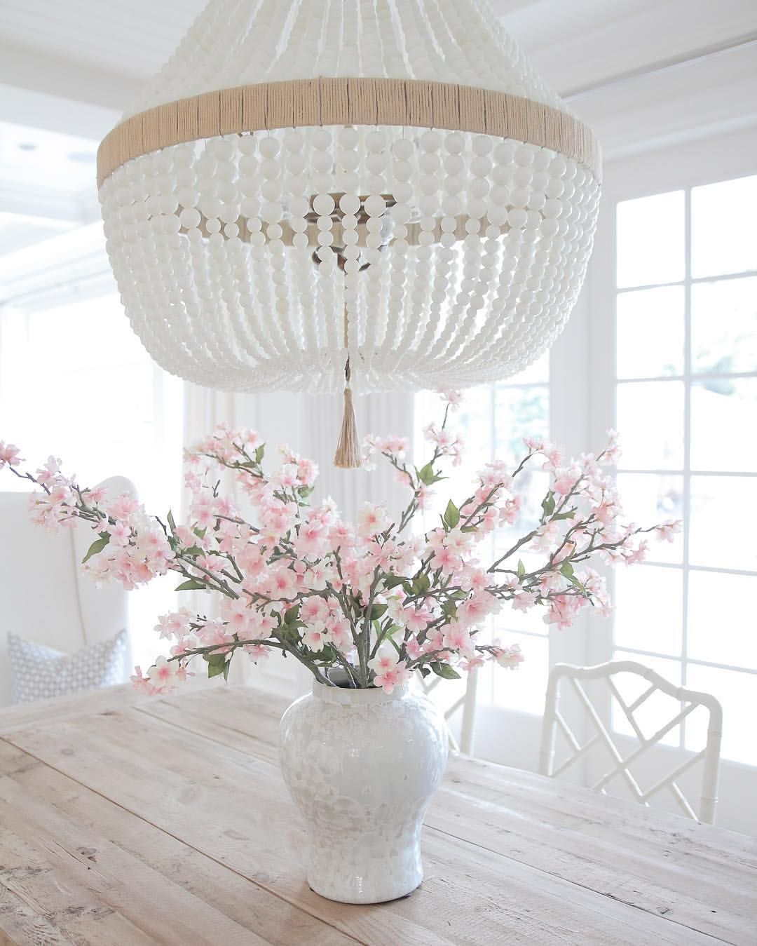 Coastal style hamptons style white vase blossoms trestle table bright white home of js home design beaded chandelier from ro sham beaux arubaitofo Gallery