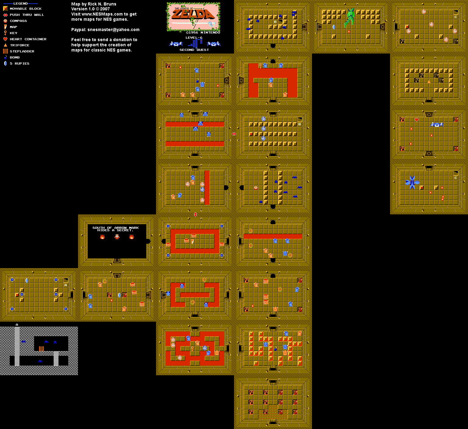 The Legend of Zelda - Level 6 Quest 2 - NES Map | ~ Gabe's