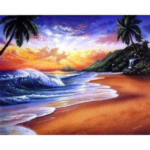 Sunlight Spills From Behind The Clouds Over A Tropical Beach In This Wall Mural On Sides Tall Palm Trees Reach High Above S
