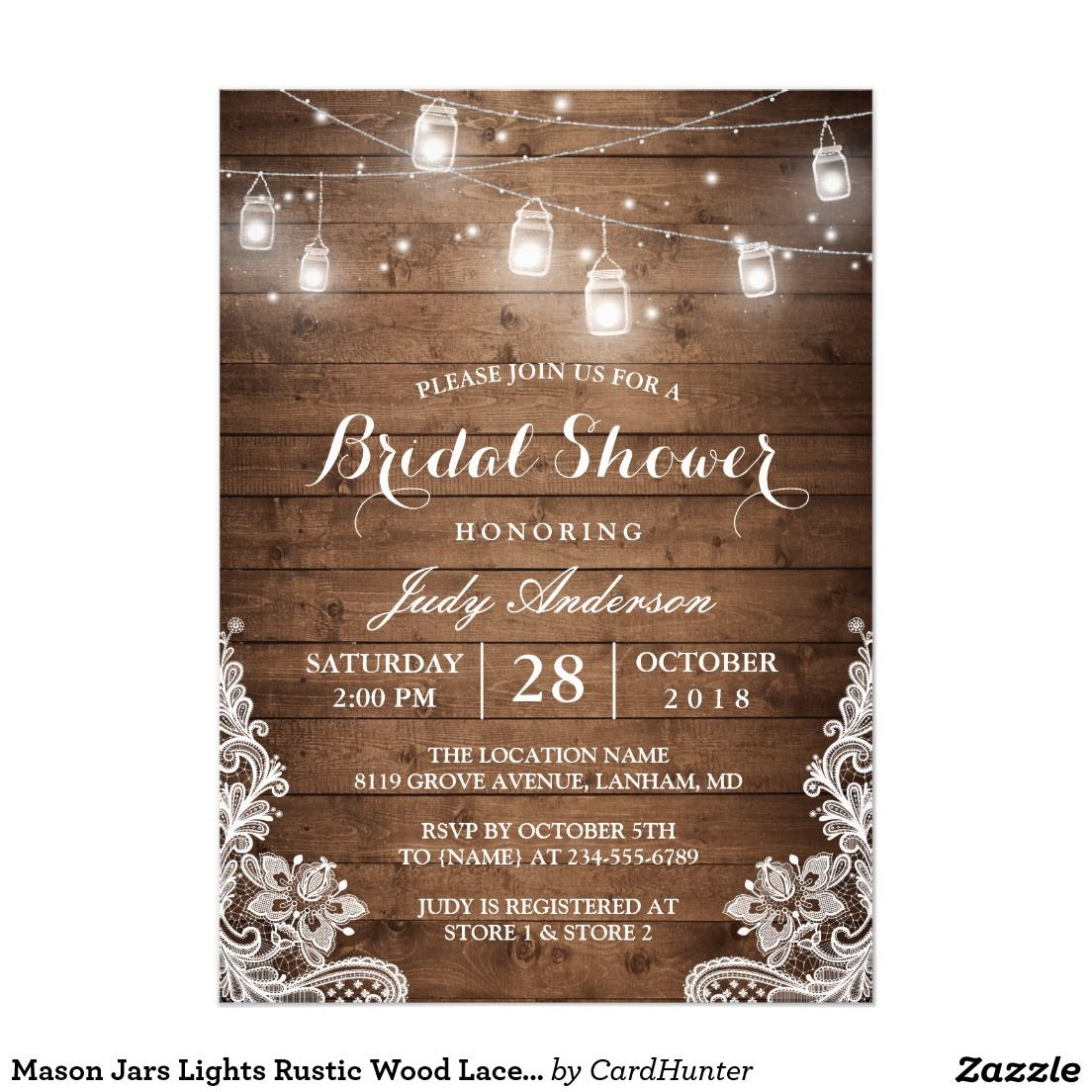 Mason Jars Lights Rustic Wood Lace Bridal Shower Invitation Mason