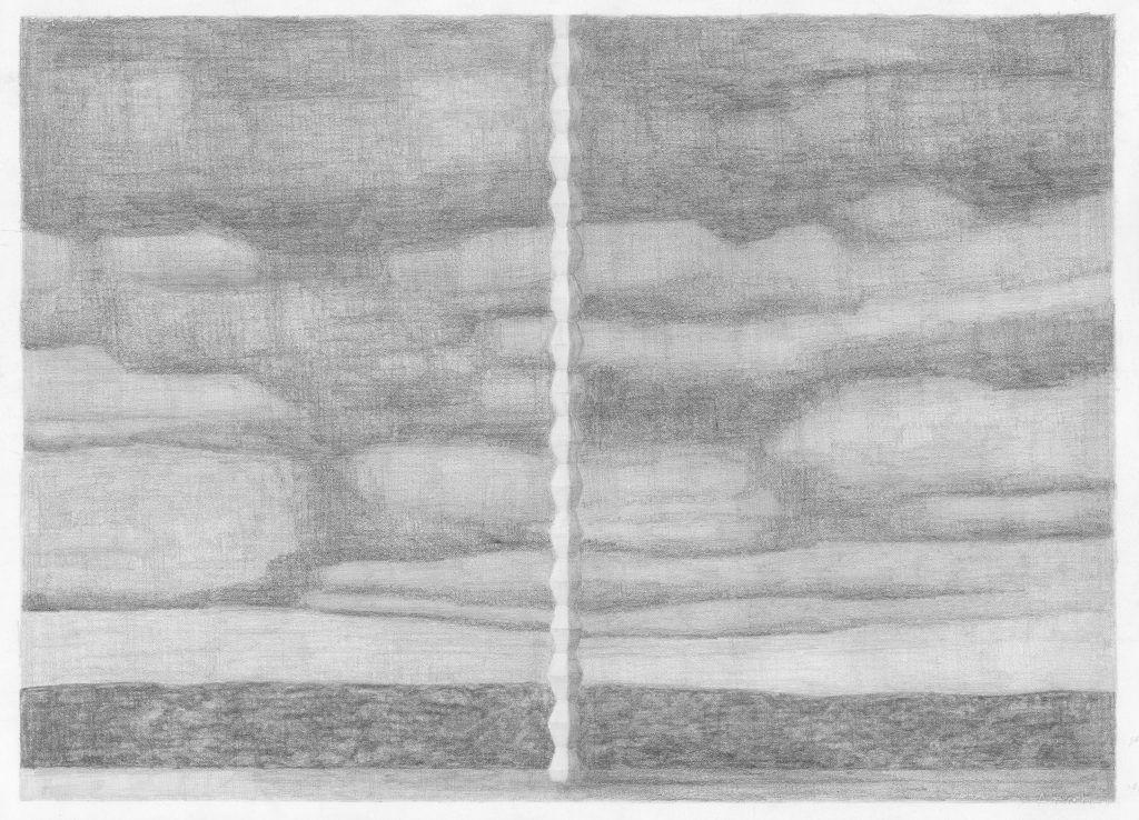F. Dijkstra, Eindeloze kolom (Brancusi), potlood op papier, 50 x 70 cm, 2014