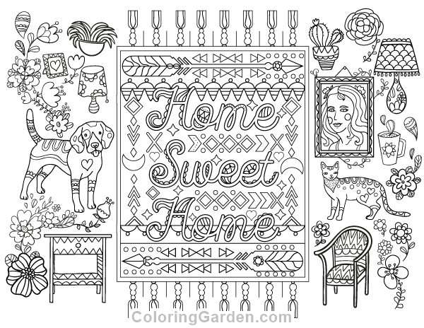 Free printable home sweet home adult coloring page
