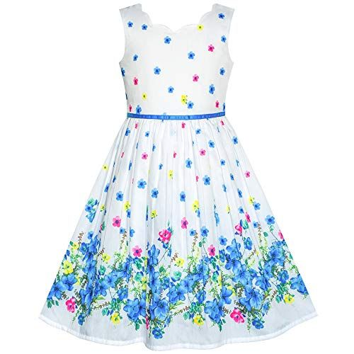 Sunny Fashion Girls Dress Purple Sunflower Green Leaves Butterfly