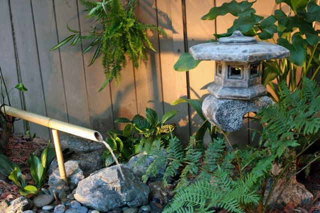 japanischer Stil Stein Brunnen Bambus selber bauen Garten Pinterest - brunnen garten stein