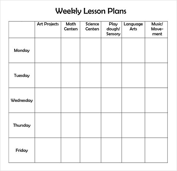 Free Printable Weekly Lesson Plan Template Education Preschool - Free printable lesson plan template