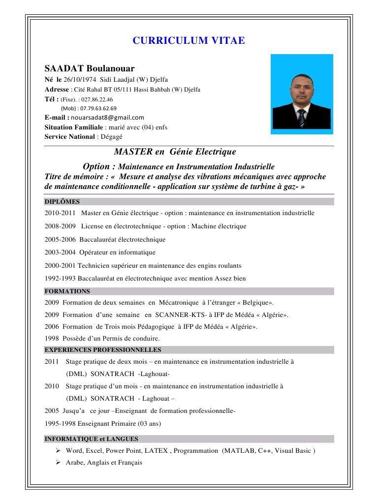cv exemple pdf algerie