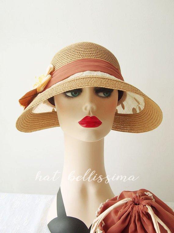 9984906c SALE Khaki 1920's Vintage Style straw hat Summer hat sun hat garden party  hats hatbellissima mil