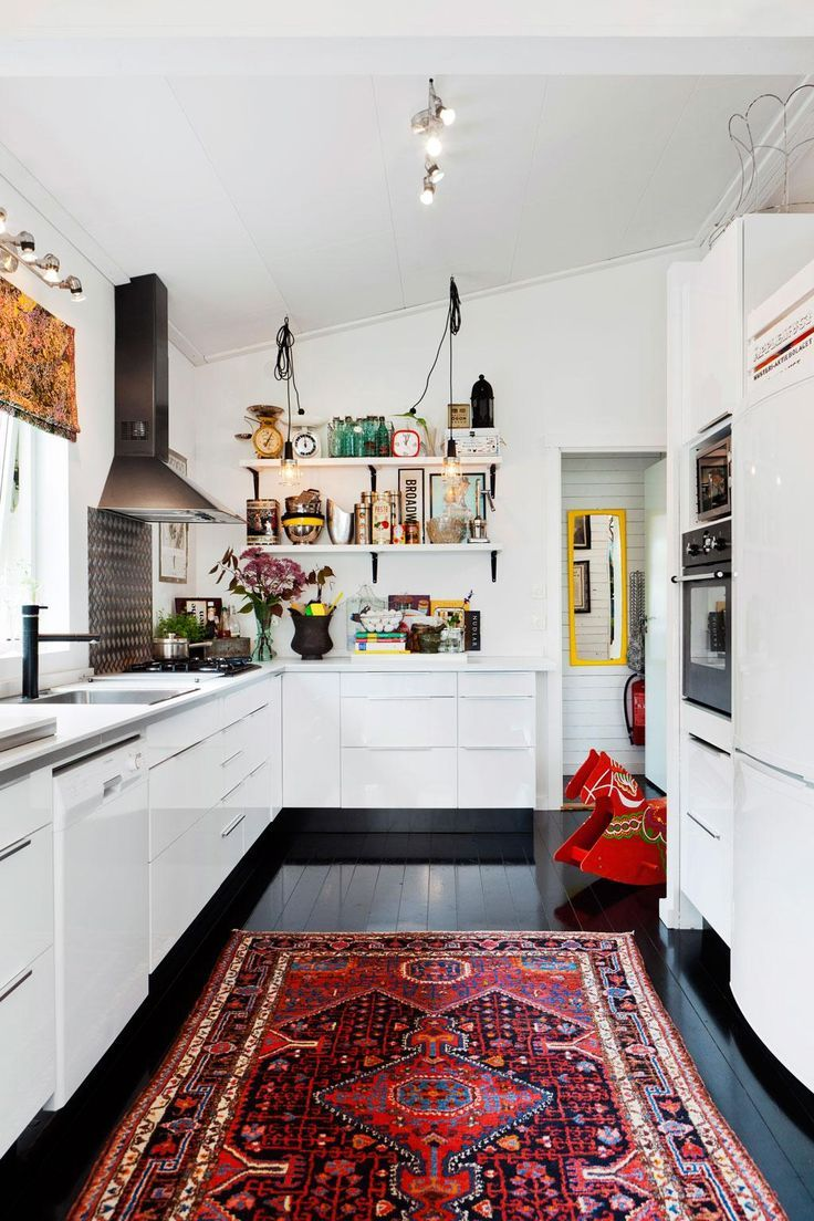 High Shine White Kitchen Cabinets Contrast Nicely With The Deep Black Floor In This Vintage Modern Kitchen With Open Shelving And I Home Sweet Home Home Decor