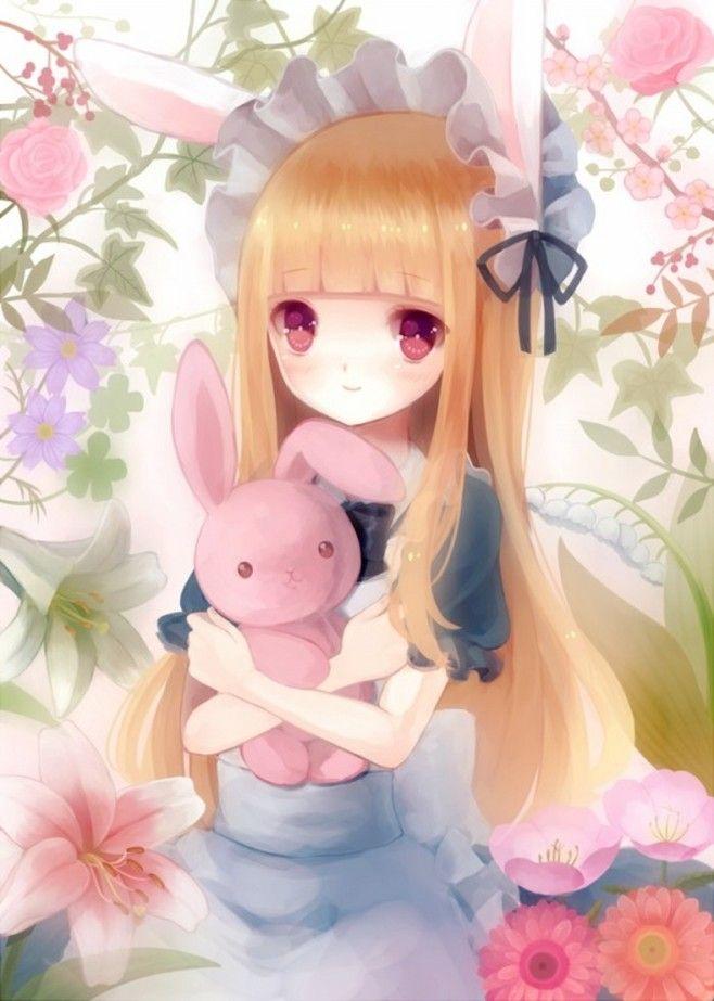 ピンク系アニメ ウサギの女の子 イラスト 兎妖怪 Anime 女の子