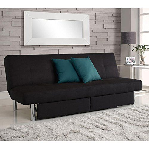 Leather Sleeper Sofa Sleeper Sofa DHP Sola Convertible Sofa with Storage in Black