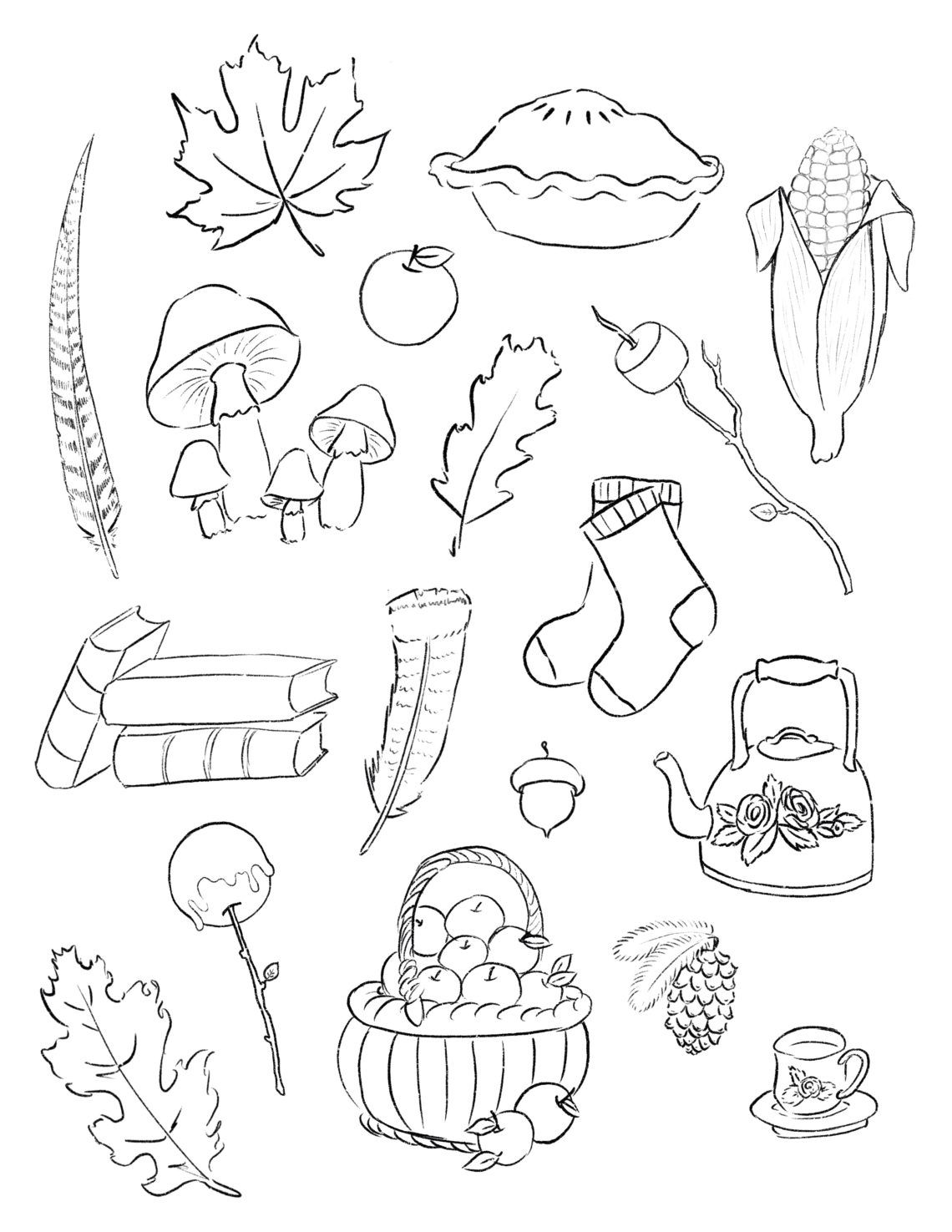 Free Autumn Printable Stickers And Coloring Page Cottage Chronicles Coloring Pages Printable Stickers Autumn Stickers