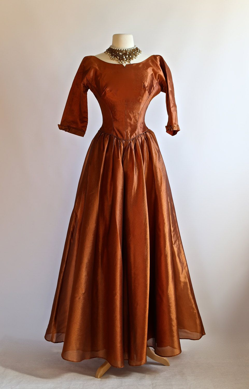 Vintage 1950s Copper Evening Gown Vintage 50s Formal Dress Etsy Vintage Clothing Boutique Evening Dresses Vintage Dresses [ 1500 x 961 Pixel ]