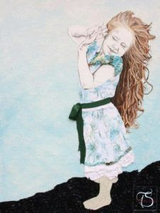 Tabitha Sluis - A storm of change - B x L in cm:  100 x 120 Mixed Media Girl, Child