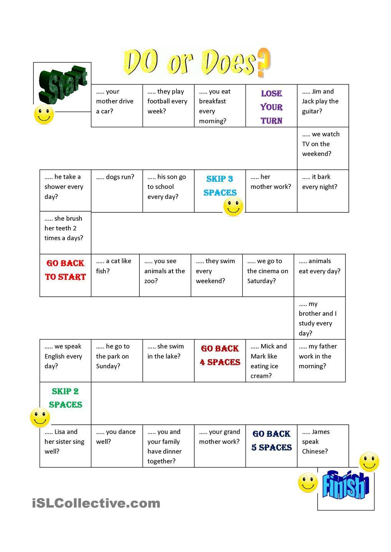 Do does question board game juegos para aprender ingles