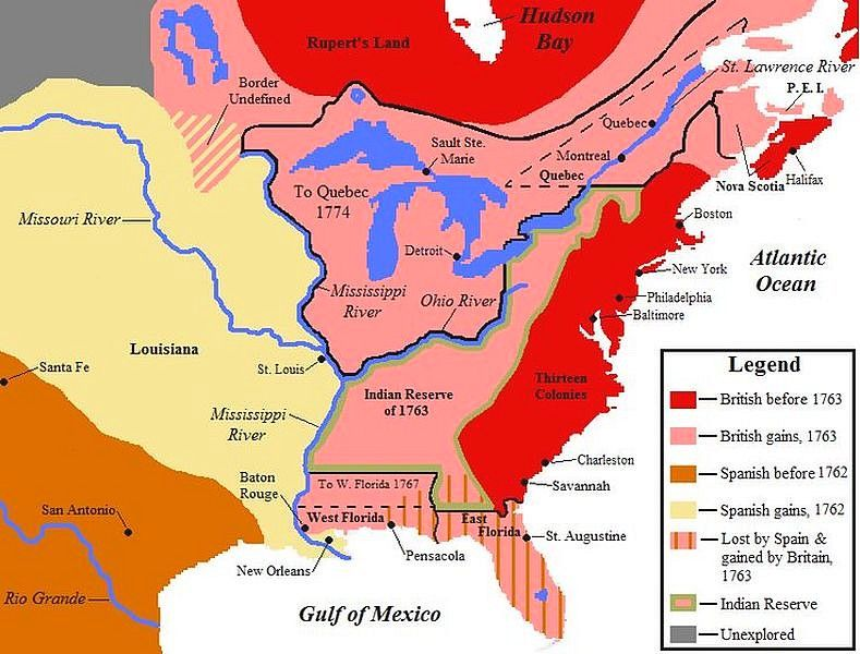 Map Showing North American Territorial Boundaries Leading Up To The American Revolution And The Founding Of The United States British Claims Are Indicated