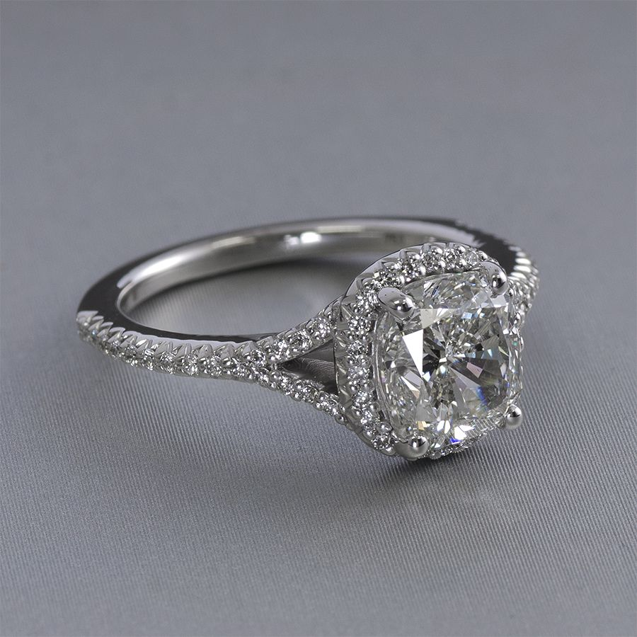 Collette Halo Engagement Ring  Cushion Cut Halo Split Shank Ring This Ring  Has One Hundred And Six Round Brilliant Cut Diamonds In 14k