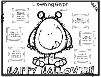 Fall and Halloween Theme Listening Glyphs for Elementary