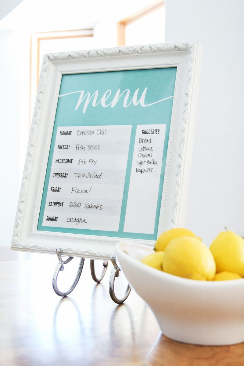 Free Printable Dry Erase Menu Board | Menu boards, Weekly meal ...