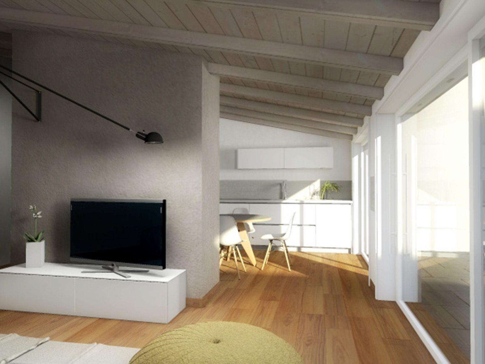 ecco il progetto in 3d di una mansarda ricavata nel sottotetto di ... - Soggiorno Living Progetto