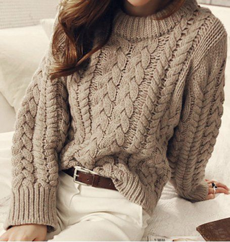 Brief Round Neck Solid Color Long Sleeves Cable-Knit Sweater For ...