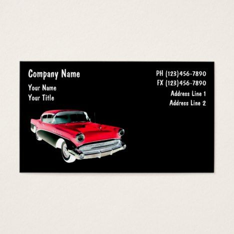 Automotive business cards retro reheart Image collections