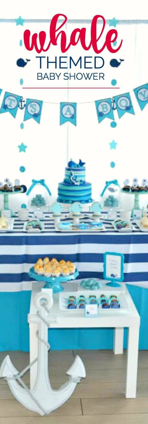 A Boy's Whale Themed Baby Shower via @spaceshipslb