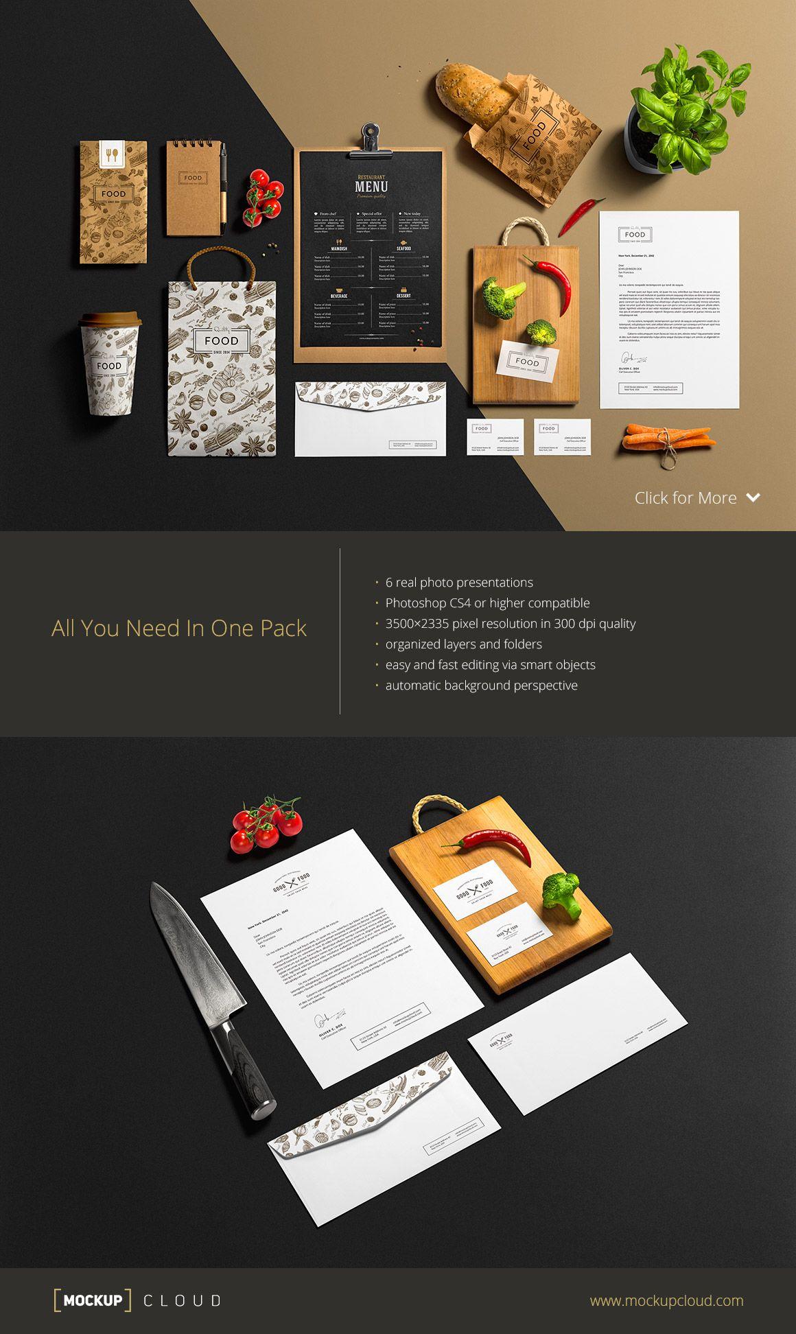 Restaurant & Bar /Stationery Mock-Up by Mockup Cloud on Creative ...