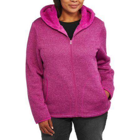 08e8e95eebc Faded Glory Women s Plus-Size Sweater Fleece Hoodie with Cozy Sherpa Lining