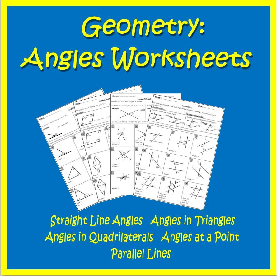 Angles review worksheets straight line, triangles