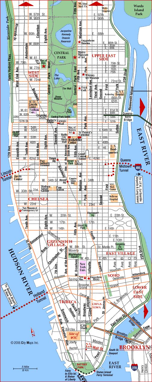street map of manhattan new york Manhattan Street Map New York City Map New York City Guide Map