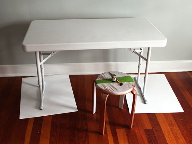Upcycle A Plastic Folding Table Into A Chic Desk Folding Table Diy Folding Table Chic Desk