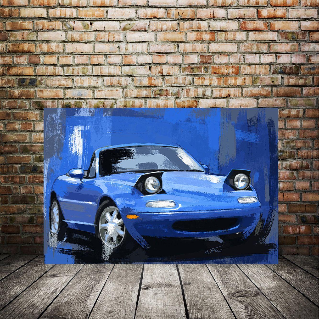 Auto Car Art Mazda Miata Blue Painting Automotive Decor Etsy In 2020 Car Art Unique Art Prints Automotive Decor