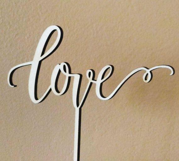 Love cake topper by WoodbelovelyShop on Etsy