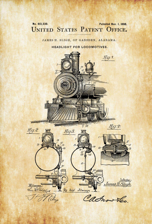 Locomotive headlight patent vintage locomotive locomotive locomotive headlight patent vintage locomotive locomotive blueprint locomotive art railroad decor locomotive poster railroads malvernweather Gallery