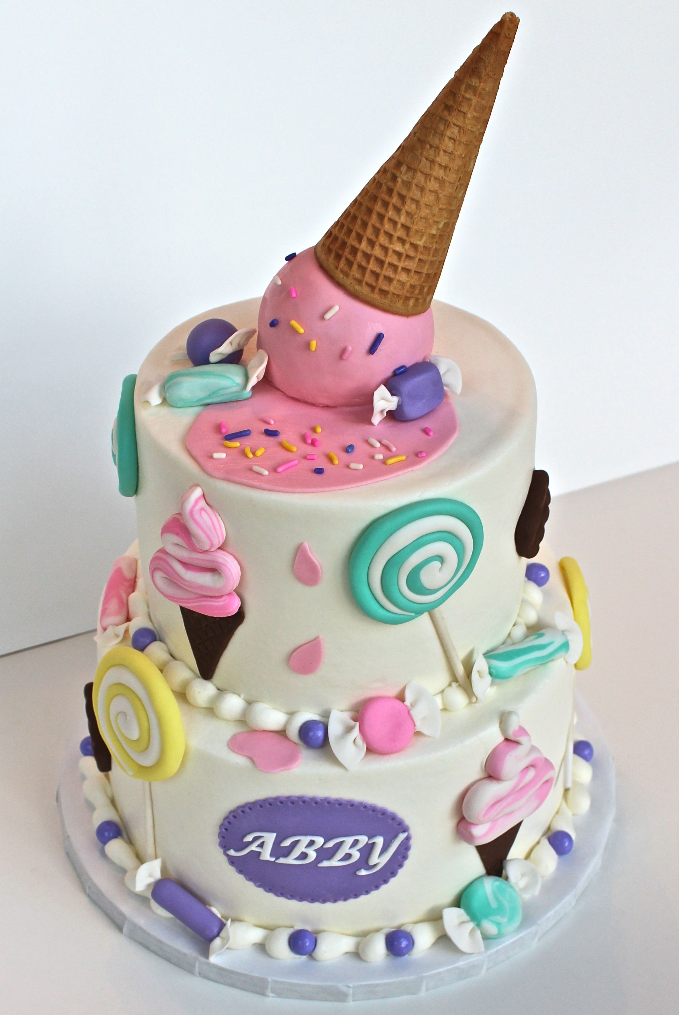 Buttercream Cake With Fondant Decorations Top Ice Cream Ball Is