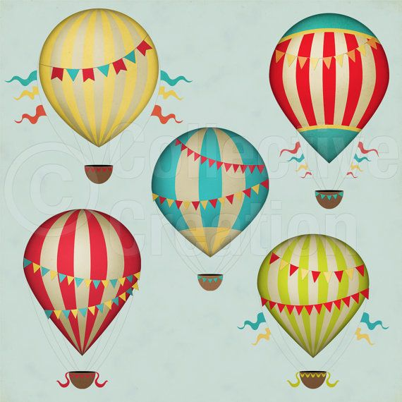 Vintage Hot Air Balloons Digital Clip Art Set Commerical And