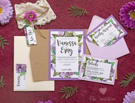 Rustic Wedding Invitation Purple Vintage Por Chicinvitationsbyca