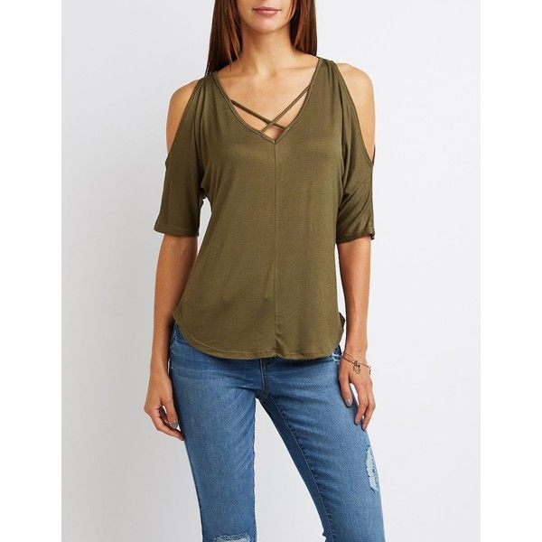 4e340a6c9f41f Charlotte Russe Caged Cold Shoulder Tee ( 15) ❤ liked on Polyvore featuring  tops