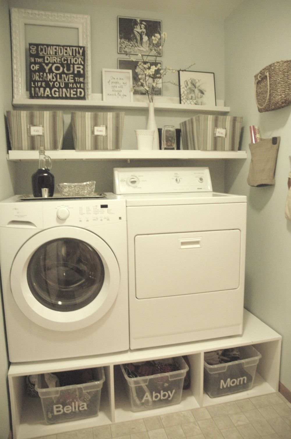 Decoration, Very Small Spaces After Makeover Old Laundry Room Design With DIY Wood Pedestal Front Loading Washer And Dryer As Dirty Clothes Storage Plus Wood Wall Mounted Detergent Storage Ideas ~ Creative Laundry Room Makeover Ideas