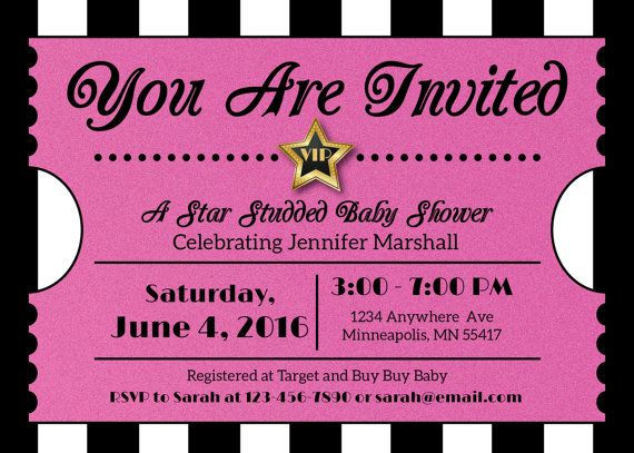 pink hollywood ticket invitation hollywood or film party