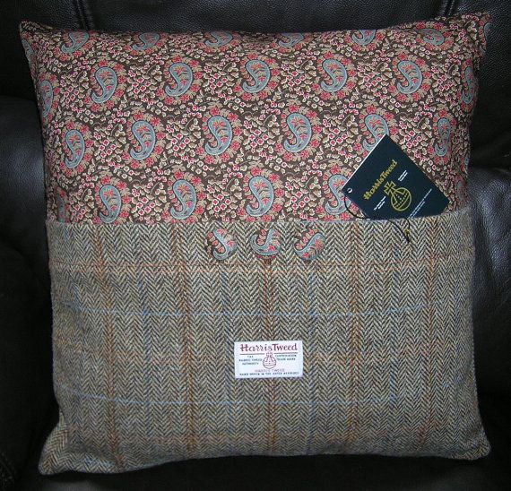 Designer pillow, Harris Tweed cushion
