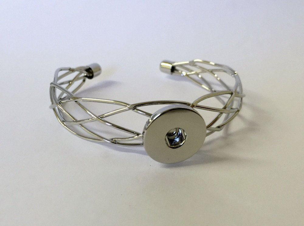Rose Gold Adjustable 18mm 20mm Single Snap Charm Bracelet For Ginger Snaps