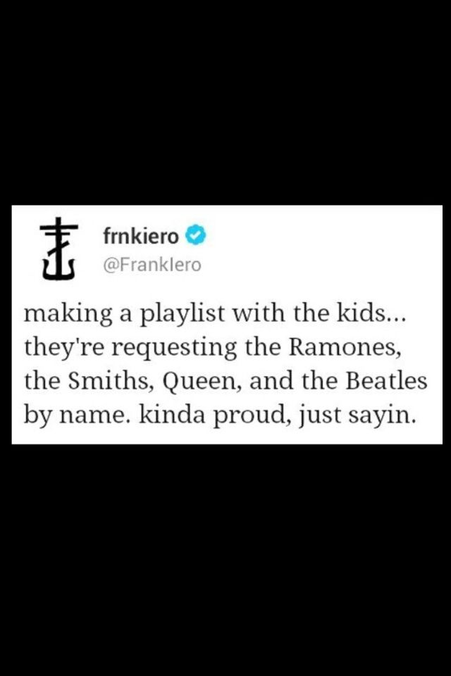 """Hey, I would also be proud. Also Frank Iero <3 FRANK - or the way sami loves to say it - """"FRAHNK"""""""