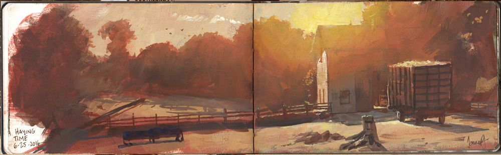 Haying Time Gouache 16 X 5 Inches Landscape Art Landscape