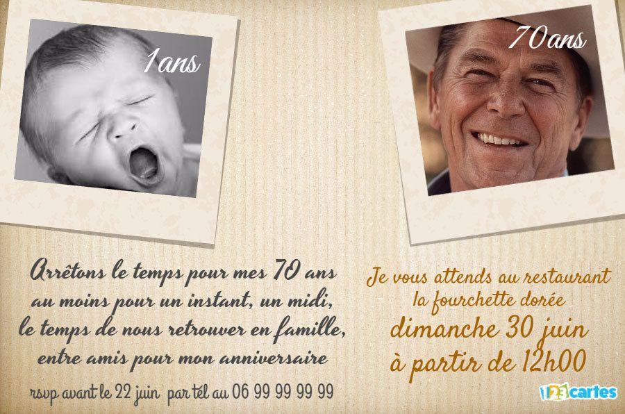 carte invitation anniversaire 70 ans Invitation anniversaire 70 ans passé et présent (avec images